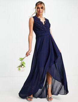 – Bridesmaid – Maxikleid mit Wickelrock aus Chiffon in Marineblau