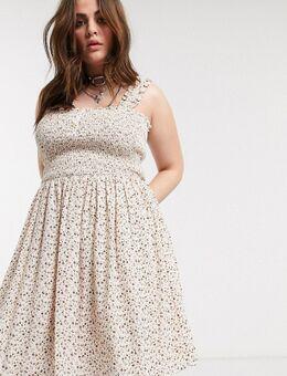 – Skater-Kleid mit gekräuseltem Oberteil und Blumenmuster in Creme-Mehrfarbig