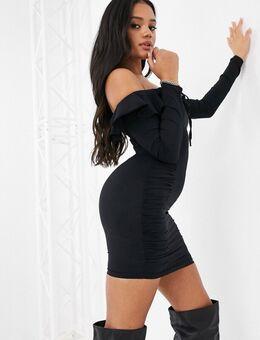 – Langärmliges Kleid mit Carmen-Ausschnitt und Rüschen in Schwarz