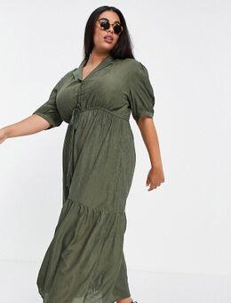 Lola May Plus – Cord-Kleid in Khaki mit kleinem Reverskragen-Grün