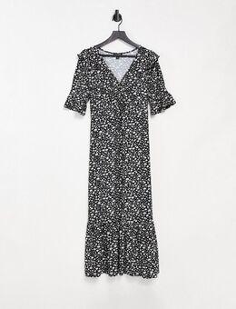 – Geblümtes Midiaxi-Kleid mit 3/4-Ärmeln-Mehrfarbig