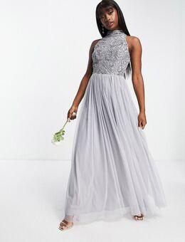 Bridesmaid – Verziertes Maxikleid mit Tüll-Rock in Sanftgrau