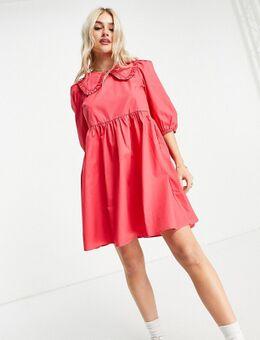 – Einfarbiges Kleid aus Baumwollpopeline mit Kragen in Rosa