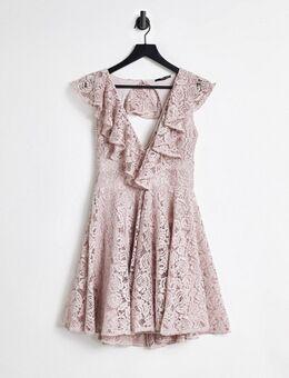 – Kurzes Skater-Kleid aus Spitze in Nerzrosa mit Rüschendetail