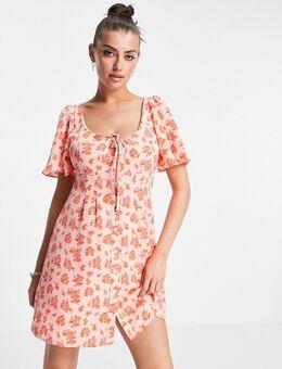 – Mini-Hängerkleid mit Vintage-Blumenmuster und Rüschenärmeln-Rosa