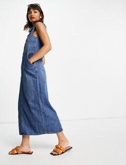 – Ärmelloses Maxi-Hemdkleid aus Jeansstoff in mittlerer Waschung-Blau