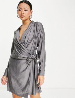 – Minikleid in Dunkelgrau mit Rückenausschnitt und Knotendetail