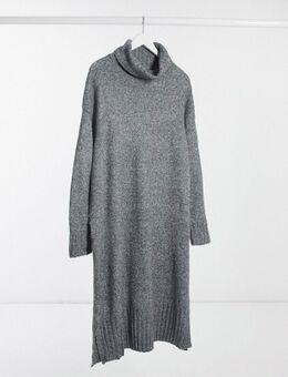 New Look Curve – Kleid mit Rollkragen in Dunkelgrau