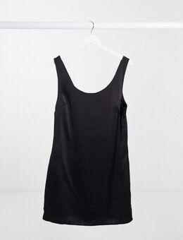 – Schwarzes Minikleid aus Satin mit U-Boot-Ausschnitt