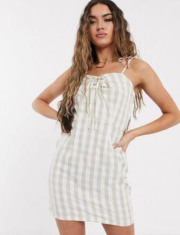 – Trägerkleid mit Vichymuster-Mehrfarbig
