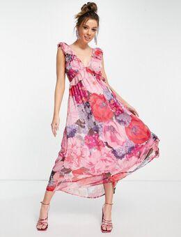 – Geblümtes Oversize-Midaxi-Kleid in Rosa