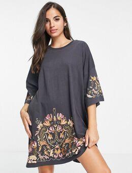 – Übergroßes T-Shirt-Kleid in Anthrazit mit goldfarbener Blumenstickerei-Grau