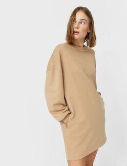 – Beiges Sweatshirt-Kleid-Neutral