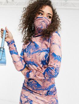 – Exklusives Bodycon-Kleid mit integriertem Mundschutz und marmoriertem Print-Mehrfarbig