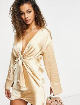– Langärmliges Kleid mit tiefem Ausschnitt und Schnürung vorne in Stein-Neutral