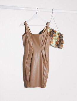 – Club –Bodycon-Kleid aus PU in Nerzbraun-Rosa