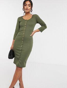 – Kleid mit Knopfleiste in Khaki-Grün