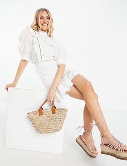 – Minikleid mit Lochstickerei, Spitze und Puffärmeln aus Polyurethan in Weiß