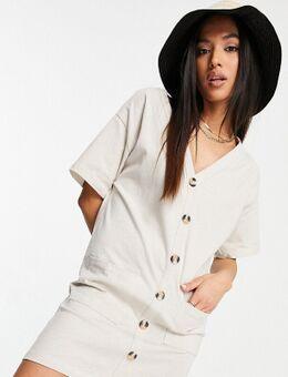 ASOS DESIGN Petite – T-Shirt-Kleid in Steingrau mit Knopfleiste-Weiß