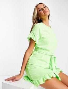 – Kleid in Grün mit Wickeldetail in der Taille