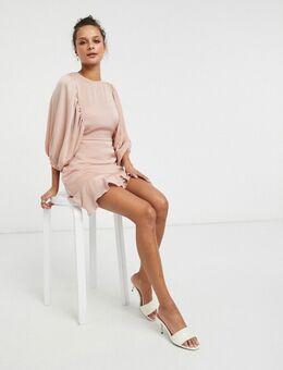 – Skater-Kleid aus Satin mit voluminösen Ärmeln-Rosa