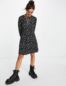 – Skater-Kleid mit Muster-Mehrfarbig