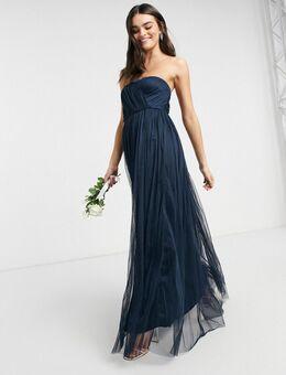 With Love – Bridesmaid – Trägerloses Maxikleid aus Tüll mit in Marineblau