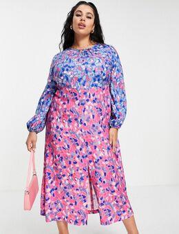 – Gerafftes Midaxi-Kleid mit kontrastierendem, leuchtendem Punktemuster-Mix-Mehrfarbig