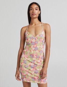 – Riemchenkleid mit Retro-Blumenmuster-Mehrfarbig