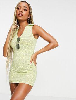 – Bodycon-Kleid mit V-Ausschnitt, Kragen und geometrischem Retro-Print-Mehrfarbig
