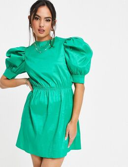 – Skater-Kleid in Grün mit Puffärmeln