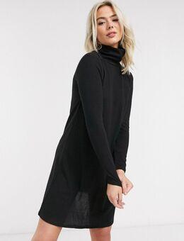 – Tonsy – Schwarzes Kleid mit Stehkragen