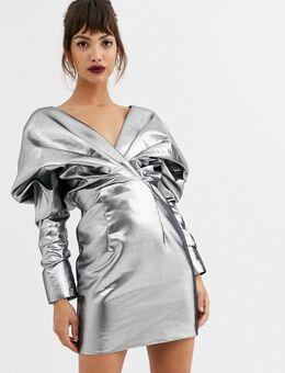 – Cocktail-Kleid mit auffälliger Schulterpartie und Metalllic-Optik-Silber