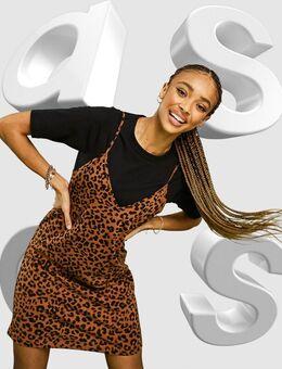 – Kurzärmliges 2-in-1-Minikleid mit Slip-Dress mit Leopardenfellprint-Schwarz