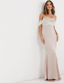 – Brautjungfernkleid mit Ärmeldetail aus Organza in Champagner-Neutral