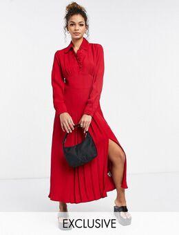 – Claudette – Langärmliges Kleid mit Seitenschlitz in Rot