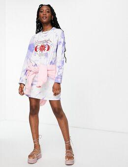 – Langärmliges Oversize-T-Shirt-Kleid mit Batikmuster und Tarot-Grafik-Mehrfarbig