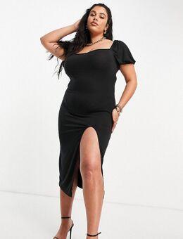 – Midaxi-Kleid im Milchmädchenstil mit Schlitz in Schwarz