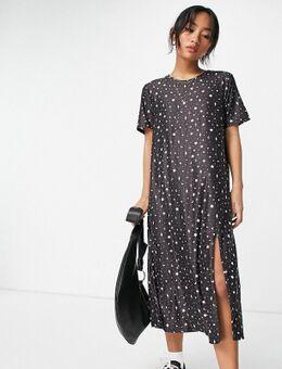 – Midi-T-Shirt-Kleid in Schwarz mit Sternenhimmel-Print