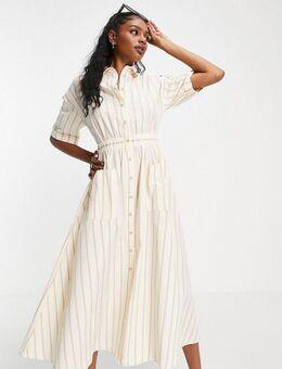 ASOS DESIGN Tall – Midi-Hemdkleid mit Knopfleiste, elastischer Taille und Streifen-Mehrfarbig