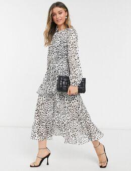 – Gerafftes Midaxi-Kleid mit Schlitz und Animal-Punkteprint-Mehrfarbig
