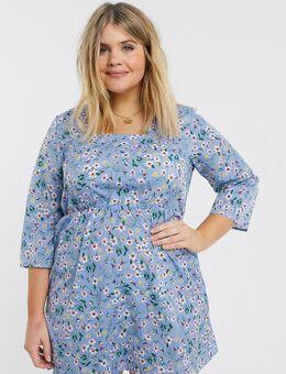 – Geblümtes Kleid mit eckigem Ausschnitt-Blau