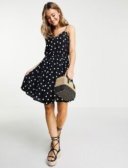 – Skater-Kleid mit schmalen Trägern in Schwarz und Weiß gepunktet
