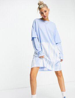 – Tracy – Langärmliges T-Shirt-Kleid in Blau mit Batikmuster