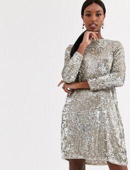 – Ausgestelltes Minikleid mit Pailletten in Silber und Gold-Mehrfarbig