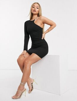 – Kleid mit One-Shoulder-Träger und Zierausschnitten in Creme-Schwarz