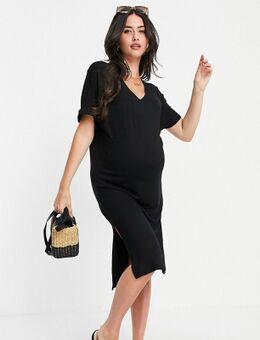 Pieces – Umstandsmode – Midi-T-Shirt-Kleid mit V-Ausschnitt in Schwarz
