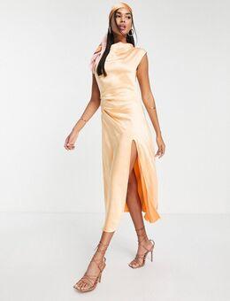 – Midaxi-Kleid aus Satin in Orange