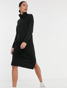 – Kleid mit Rollkragen in Schwarz