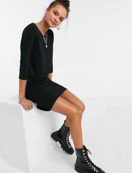 – Strukturiertes Pulloverkleid in Schwarz